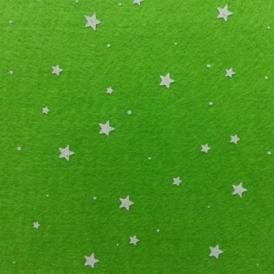 N5 Carré de feutrine motif etoile 15*15cm blanc et vert