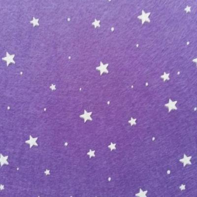 N5 Carré de feutrine motif etoile 15*15cm blanc et violet