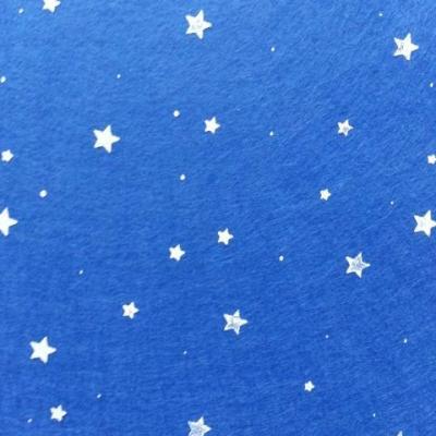 N5 Carré de feutrine motif etoile 15*15cm blanc et bleu royal, roi
