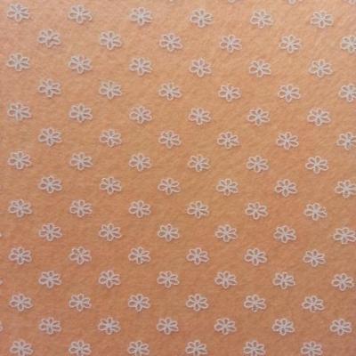 Carré de feutrine motif fleur 15*15cm blanc et peche