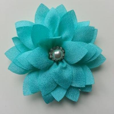 fleur en tissu centre perle et strass de 55mm vert