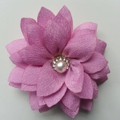 fleur en tissu centre perle et strass de 55mm vieux rose