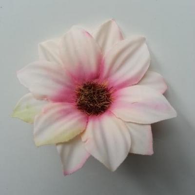 fleur artificielle marguerite en tissu 60mm ivoire et rose