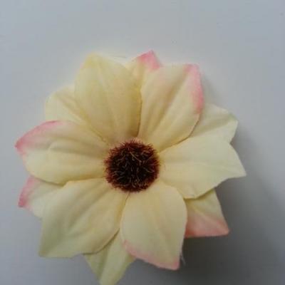 fleur artificielle marguerite en tissu 60mm jaune et  rose