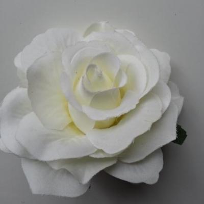 rose artificielle en tissu 110mm ivoire