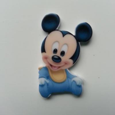 Cabochon plat en résine  souris baby bleu 35*20mm