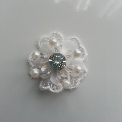 double  en dentelle blanc perle et strass  30mm