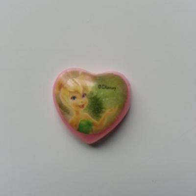 cabochon coeur en plastique fée clochette 20mm rose