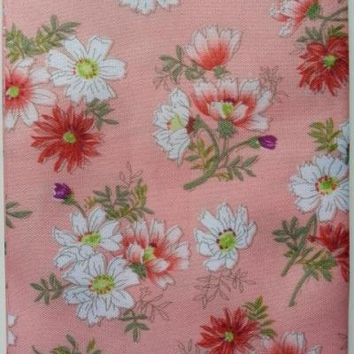 carré de tissu peche motif fleur 49*49cm