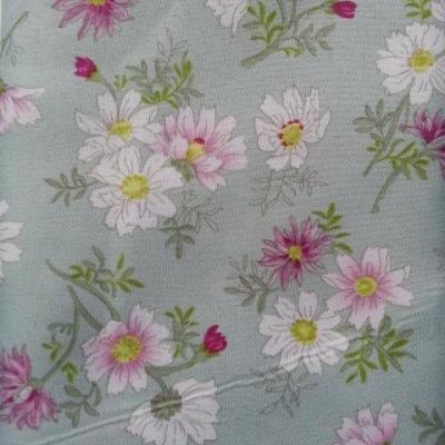 carré de tissu vert pastel motif fleur 49*49cm