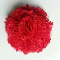 Applique fleur gauffrée rouge  70mm
