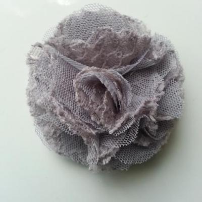 Applique fleur gauffrée gris 70mm