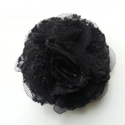 Applique fleur gauffrée noir 70mm