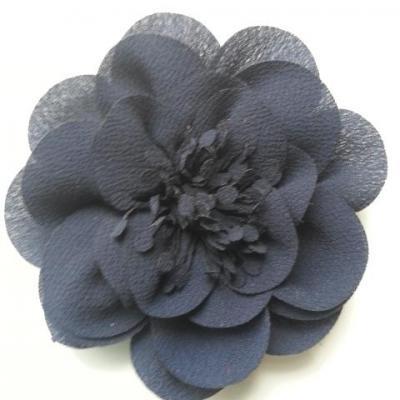 grande fleur mousseline 10cm bleu marine