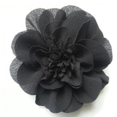grande fleur mousseline 10cm noir