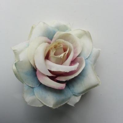 rose artificielle en tissu  de 60mm ivoire bleu vert