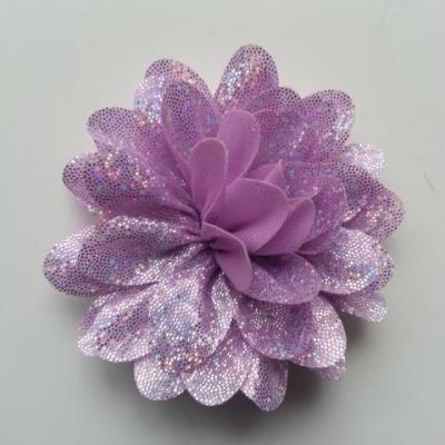 fleur en tissu brillant 80mm argent et mauve