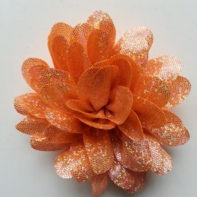 fleur en tissu brillant 80mm argent et orange
