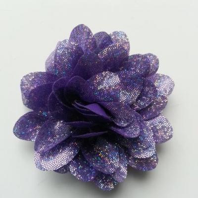 fleur en tissu brillant 80mm argent et violet
