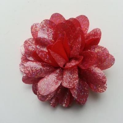 fleur en tissu brillant 80mm argent et rouge