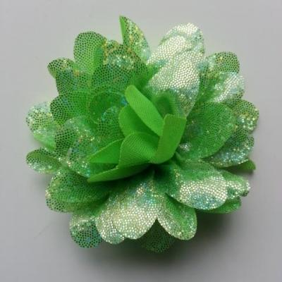 fleur en tissu brillant 80mm argent et vert