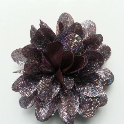 fleur en tissu brillant 80mm argent et marron