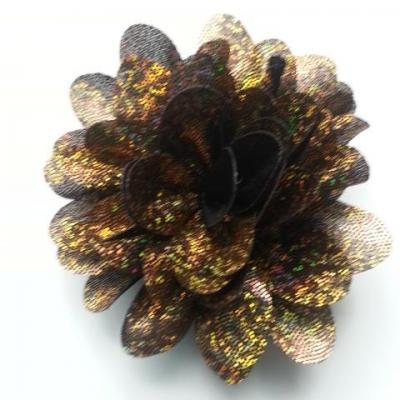 fleur en tissu brillant 80mm marron dorée