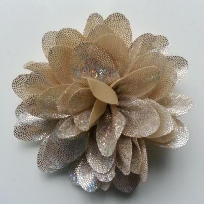 fleur en tissu brillant 80mm argent et beige