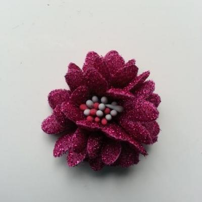 fleur en tissu pailleté et pistils 40mm rose fuchsia