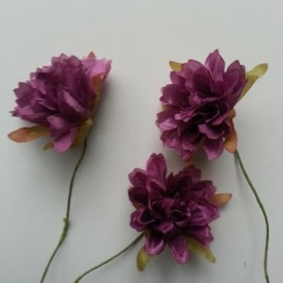 lot de 3 fleurs en tissu et pistils sur tige 40mm prune
