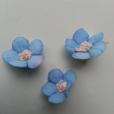 lot de 4 fleurs artificielles en tissu 25mm  bleu