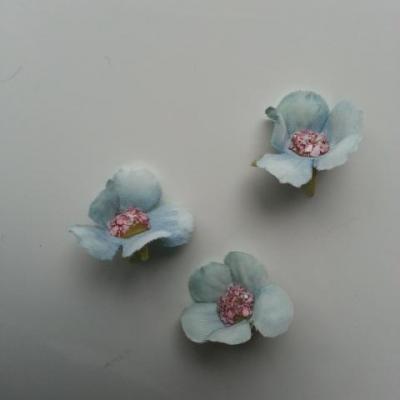 lot de 4 fleurs artificielles en tissu 25mm  bleu vert