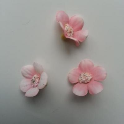 lot de 4 fleurs artificielles en tissu 25mm  rose