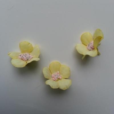 lot de 4 fleurs artificielles en tissu 25mm  jaune