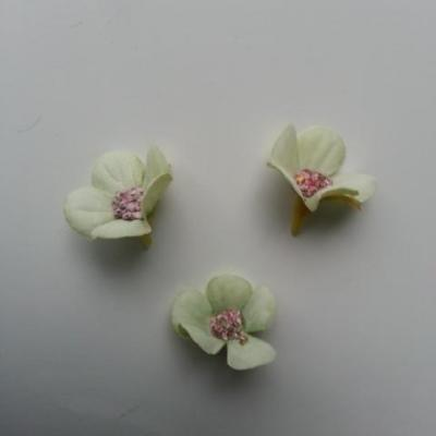 lot de 4 fleurs artificielles en tissu 25mm  vert