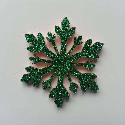 flocon de neige etoile de noel feutrine  pailleté  40mm vert