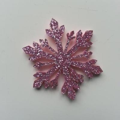 flocon de neige etoile de noel feutrine  pailleté  40mm rose
