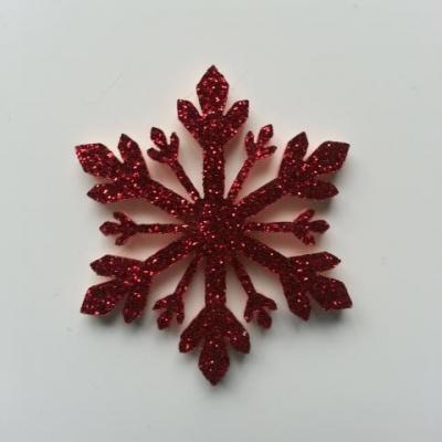flocon de neige etoile de noel feutrine  pailleté  40mm rouge