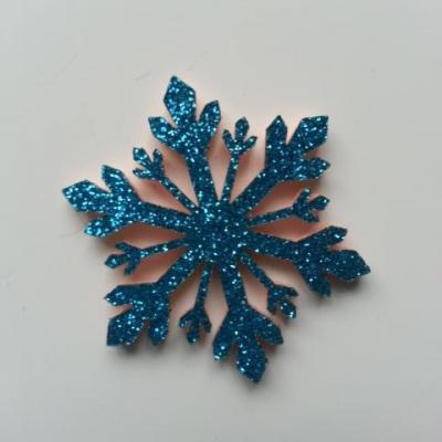 flocon de neige etoile de noel feutrine  pailleté  40mm bleu