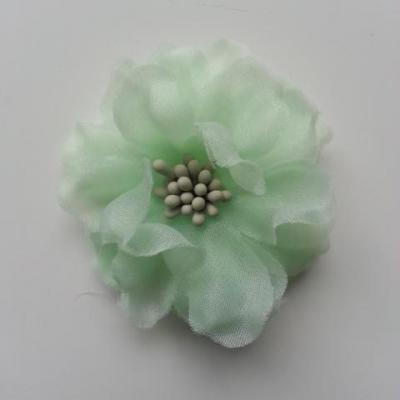 fleur en voile organza et pistils 45mm vert
