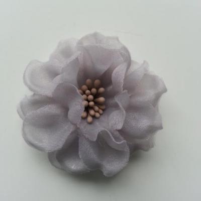 fleur en voile organza et pistils 45mm gris
