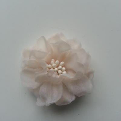 fleur en voile organza et pistils 45mm ivoire