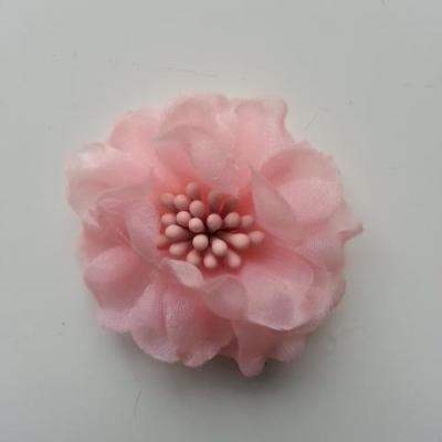 fleur en voile organza et pistils 45mm rose