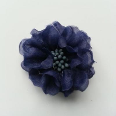 fleur en voile organza et pistils 45mm bleu marine