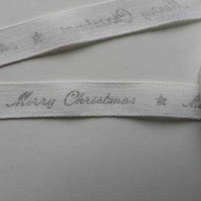 1 mètre de ruban toile motif merry christmas blanc et argent   25mm