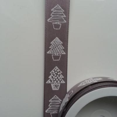 1 mètre de ruban marron clair motif sapin   25mm