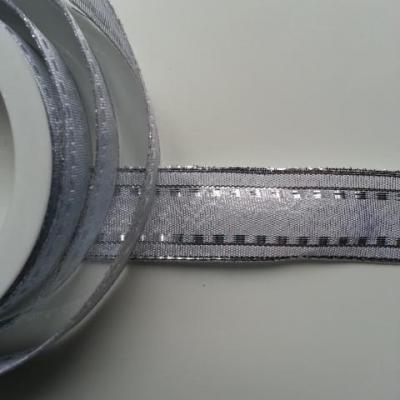 1 mètre de ruban argent liseré argent    25mm