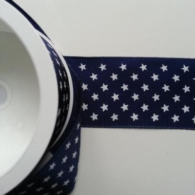 1 mètre de ruban gros grain bleu marine étoile  40mm