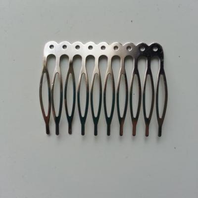 Peigne argenté avec trous  à décorer 55*40mm