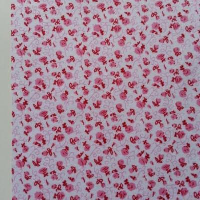 Feuille de tissu autocollant     21*14.5 cm fleuri rose et blanc